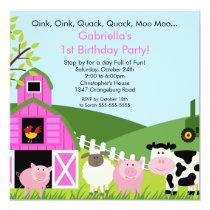 Barnyard Animal Fun Birthday Party Pink Girls Invitation