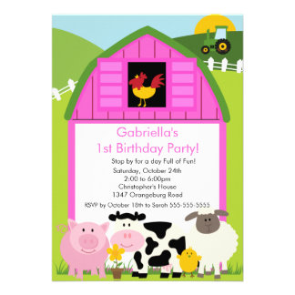 Barnyard Animal Fun Birthday Party Pink Girls Personalized Invitations
