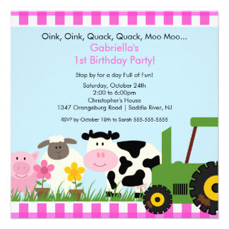 Barnyard Animal Fun Birthday Party Pink Girls Personalized Invites