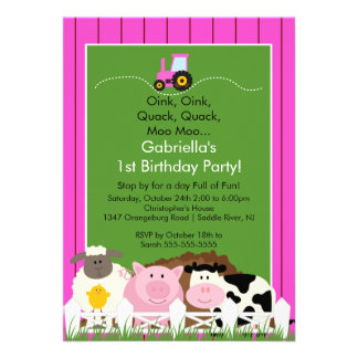 Barnyard Animal Fun Birthday Party Pink Girls Personalized Announcement