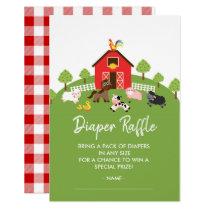 Barnyard Animals Baby Shower Diaper Raffle Ticket Invitation