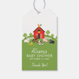 Barnyard Animals Baby Shower Favor Gift Tag