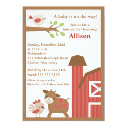 Barnyard Animals Baby Shower Invitation