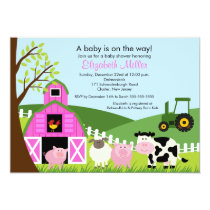 Barnyard Animals Baby Shower Invitation Pink Girl