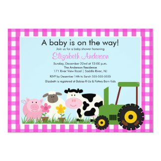 Barnyard Animals Baby Shower Invitation Pink Girls