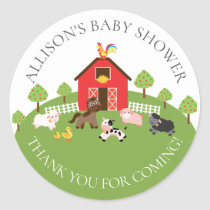Barnyard Animals  Baby Shower Thank You Sticker