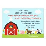 "Barnyard Animals Birthday Invitation Personalized 5"" X 7"" Invitation Card"