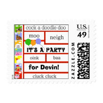 Barnyard Animals Cow Pig Chicken Birthday Postage