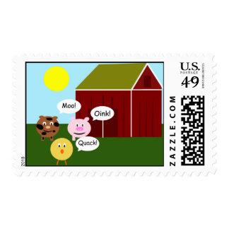 Barnyard Animals Moo Oink Quack Postage Stamps
