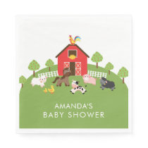 Barnyard Animals Neutral Baby Shower Paper Napkins