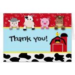 Barnyard Animals Thank you note cards birthday