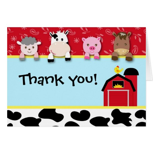 Barnyard Animals Thank you note cards birthday