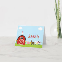 Barnyard Animals Thank You Note Personalized
