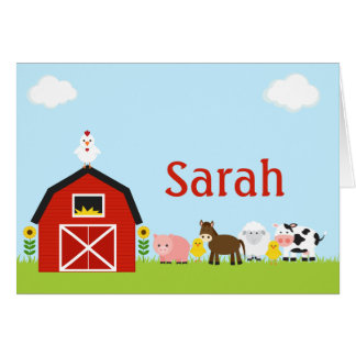 Barnyard Animals Thank You Note Personalized Card