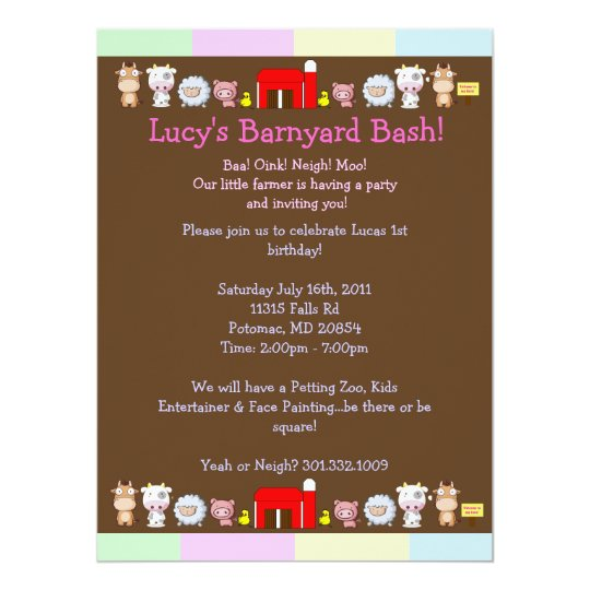 Barnyard Bash Card