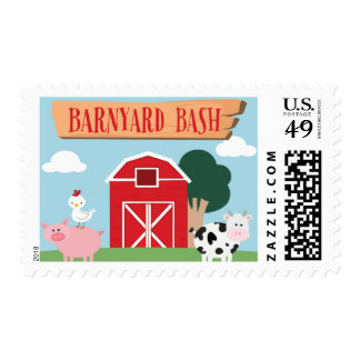 Barnyard Birthday Bash/Party Postage Stamp