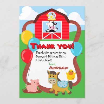 Barnyard Farm Birthday Thank You Note Cards Zazzle