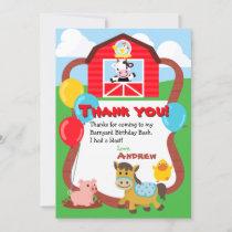 Barnyard Birthday Farm Animal Thank You Cards