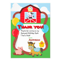 Barnyard Birthday Farm Animal Thank You Cards