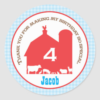 Barnyard Birthday Favor Sticker