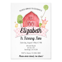 Barnyard Birthday Invitation, Girls Farm Party Invitation