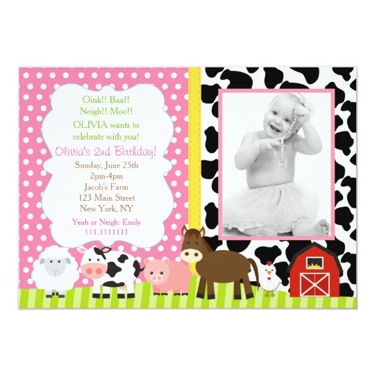 Barnyard Birthday Invitations Girl Zazzle Com