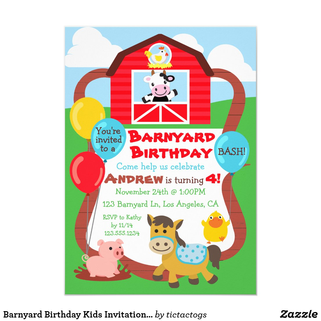 Barnyard Birthday Kids Invitation - Farm Animals