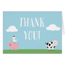 Barnyard Birthday Party/Bash Thank You Card