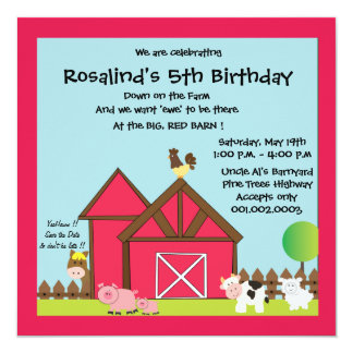 Barnyard Birthday Party / Farm Animals Card