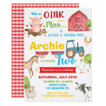 Barnyard Birthday Party Farm Animals Turning Two Invitation