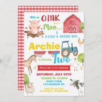 Barnyard Birthday Party Farm Animals Turning Two Invitation