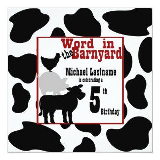 Barnyard Birthday Party Custom Announcements