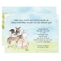 Barnyard birthday party invitation, baby animals invitation