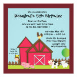 Barnyard Birthday party invites -blue