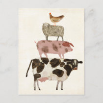 Barnyard Buds - Cow, Pig, Sheep, and Hen Postcard