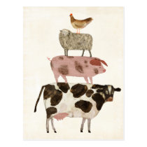 Barnyard Buds - Cow, Pig, Sheep, and Hen Postcard