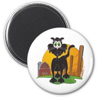 Barnyard Cat 2 Inch Round Magnet