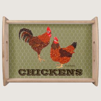 Barnyard Chickens Serving Tray