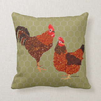 Barnyard Chickens Throw Pillow