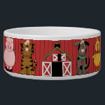 "Barnyard Dog Bowl<br><div class=""desc"">This cute barnyard dog bowl features a red barn,  a dog,  cat,  chicken,  rooster,  cow,  pig,  sheep,  and a farmer and his wife,  with a red barn background.</div>"