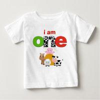 Barnyard Farm 1st Birthday Tshirt Toddler Baby Kid