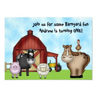 "Barnyard Farm Animal 1st Birthday Invitations 5"" X 7"" Invitation Card"
