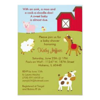 farm animal baby shower invitations announcements zazzle