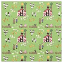 Barnyard farm animal green nursery fabric