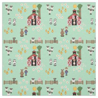 Barnyard farm animal mint nursery fabric