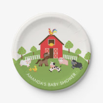 "Barnyard Farm Animals Baby Shower 7"" Plate"