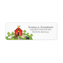Barnyard Farm Animals Baby Shower Address Label