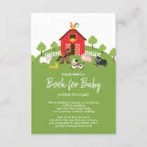 Barnyard Farm Animals Baby Shower Book for Baby Enclosure Card