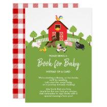 Barnyard Farm Animals Baby Shower Book for Baby Invitation