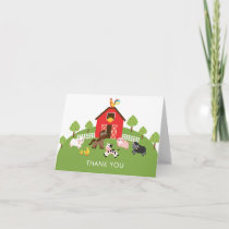 Barnyard Farm Animals Baby Shower Thank You Note